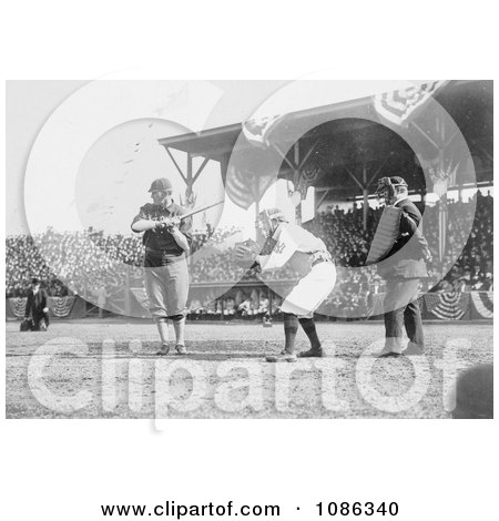 Otis Clymer Batting and Red Kleinow Catching During a Baseball Game - Free Historical Baseball Stock Photography by JVPD