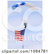 Parachuting With An American Flag Free Stock Photography
