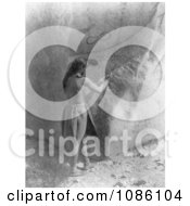 Paviotso Man Creating Rock Art Free Historical Stock Photography