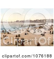People And Bathing Machines On The Beach In Margate Thanet Kent England UK Royalty Free Stock Photography