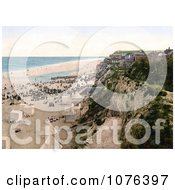 People And Changing Saloon Carts On The Beach In Mundsley Norfolk England Royalty Free Stock Photography