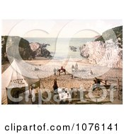 People At S ParkerS Tea And Luncheon Tent On Barricane Shell Beach In Morthoe Devon England Royalty Free Stock Photography