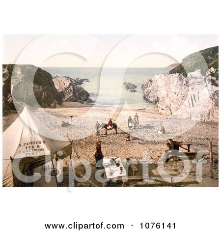 People at S. Parker's Tea & Luncheon Tent on Barricane Shell Beach in Morthoe Devon England - Royalty Free Stock Photography  by JVPD