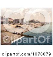 People Boats And Bathing Machine Carts On The Beach In Worthing West Sussex England UK Royalty Free Stock Photography