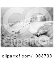 People Climbing A Snowy Hill To The Icy Niagara Falls Royalty Free Historical Stock Photography by JVPD