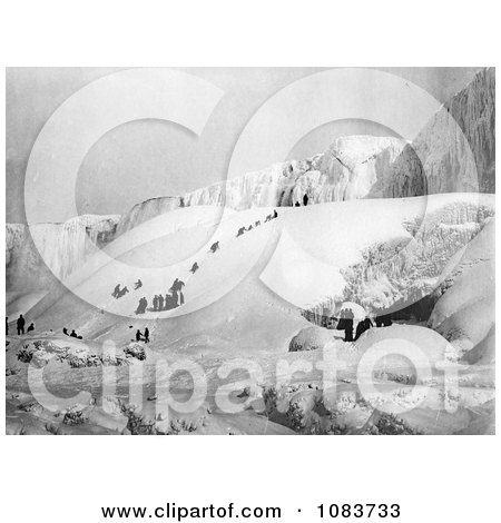 People Climbing A Snowy Hill To The Icy Niagara Falls - Royalty Free Historical Stock Photography by JVPD