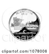 People Fishing On A Lake A Loon And State Outline On The Minnesota State Quarter Royalty Free Stock Photography by JVPD