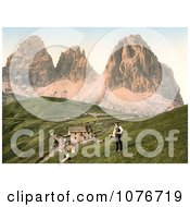 People Near A Hotel And Mountains Sella Joch And Langkofl Tyrol Austria Royalty Free Stock Photography by JVPD