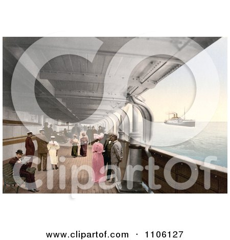 People on Benches and Strolling on the Promenade Deck of the Maria Theresia Steamship, North German Lloyd, Royal Mail Steamers - Royalty Free Historical Stock Photo by JVPD