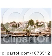 People On Boats Near The Old England Hotel In Windermere Cumbria Lake District England Royalty Free Stock Photography
