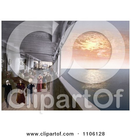 People Strolling on the Promenade Deck of a Steamship at Sunset - Royalty Free Historical Stock Photo by JVPD