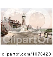 People Strolling The Promenade Near The Clock Tower In Skegness East Lindsey Lincolnshire England United Kingdom Royalty Free Stock Photography