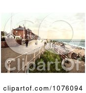 People Walking On The Parade Promenade Near The Coast Guard Station In Southwell England Royalty Free Stock Photography