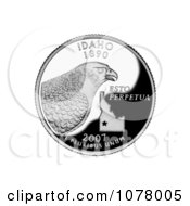 Peregrine Falcon And State Outline On The Idaho State Quarter Royalty Free Stock Photography