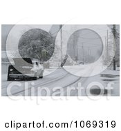 Person Working On Broken Down Car On Snow Covered Road Royalty Free Winter Stock Photography