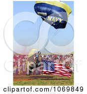 Photo Of Navy Man Parachuting An American Flag On A Football Field For North Bullitt High School In Shepherdsville Kentucky 2007 Royalty Free Sports Stock Photography by JVPD