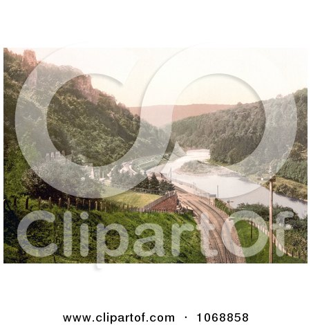 Photo of Train Tracks Through Symonds Yat on the River Wye in the Forest of Dean England - Royalty Free Stock Photochrome by JVPD