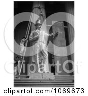 Photo Of Two Men On A Ladder Aligning The Giant Statue Of Uncle Sam At The Subtreasury Royalty Free Historical Black And White Stock Photography
