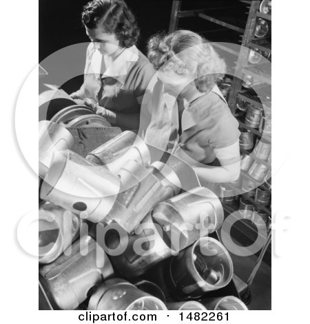 Photo of Two Women Working War Jobs While Inspecting Piston Heads in a Factory by JVPD