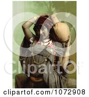 Photochrom Of A Bedouin Woman Carrying A Pottery Vessel Royalty Free Historical Stock Photography