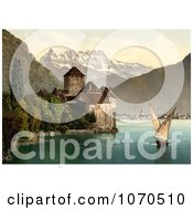 Photochrom Of A Boat And Dents Du Midi By Chillon Castle Royalty Free Historical Stock Photography by JVPD