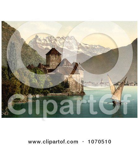 Photochrom Of A Boat and Dents du Midi by Chillon Castle - Royalty Free Historical Stock Photography by JVPD