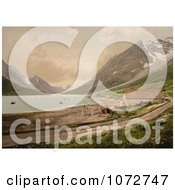 Photochrom Of A Boat And House On Shore Ulsfjorden Kjosen Norway Royalty Free Historical Stock Photography by JVPD