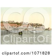 Photochrom Of A Boat At The North East Point Of Heligoland Germany Royalty Free Historical Stock Photo by JVPD