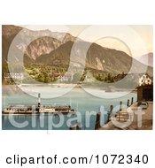 Photochrom Of A Boat Near Bonigen Switzerland Royalty Free Historical Stock Photography