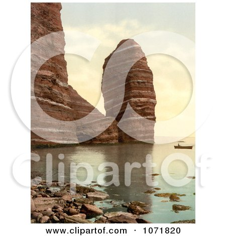 Photochrom of a Boat Near The Monk and Preacher's Pulpit Formations in Heligoland - Royalty Free Historical Stock Photo  by JVPD
