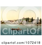 Photochrom Of A Boat On Geneva Lake At Clarens Royalty Free Historical Stock Photography