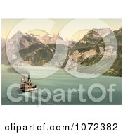 Photochrom Of A Boat On Lake Lucerne Switzerland Royalty Free Historical Stock Photography