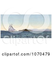 Photochrom Of A Boat Sailing Near Alcatraz Island On The Golden Gate San Francisco California Royalty Free Historical Stock Photography