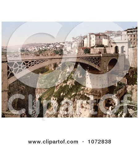 Photochrom of a Bridge, Constantine, Algeria - Royalty Free Historical Stock Photography by JVPD