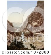 Photochrom Of A Bridge Over A Stream ElCantara Algeria Royalty Free Historical Stock Photography by JVPD