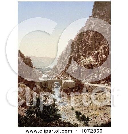 Photochrom of a Bridge Over a Stream, ElCantara, Algeria - Royalty Free Historical Stock Photography by JVPD
