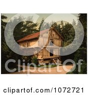 Photochrom Of A Building In Forest Stabur Bygdo Norway Royalty Free Historical Stock Photography by JVPD