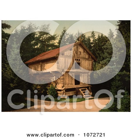 Photochrom of a Building in Forest, Stabur Bygdo, Norway - Royalty Free Historical Stock Photography by JVPD