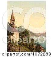 Photochrom Of A Church On Geneva Lake Dent Du Midi Mountains Royalty Free Historical Stock Photography by JVPD