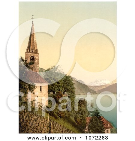 Photochrom of a Church on Geneva Lake, Dent du Midi Mountains - Royalty Free Historical Stock Photography by JVPD
