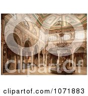 Photochrom Of A Circular Chair In A Drawing Room Kasr El Said Tunisia Royalty Free Historical Stock Photo by JVPD