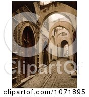 Photochrom Of A Cobbled Alley Tresure Street Tunis Tunisia Royalty Free Historical Stock Photo by JVPD