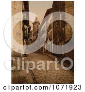 Photochrom Of A Cobbled Street Scene In Fuenterrabia Spain Royalty Free Historical Stock Photo by JVPD