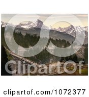 Photochrom Of A Construction Site By The Viaduct In Gryon Switzerland Royalty Free Historical Stock Photography