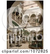 Photochrom Of A Courtyard With Trees Statues And Fountains Algiers Algeria Royalty Free Historical Stock Photography