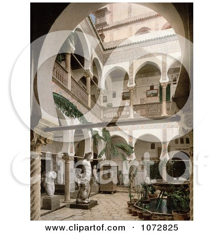 Photochrom of a Courtyard With Trees, Statues and Fountains, Algiers, Algeria - Royalty Free Historical Stock Photography by JVPD