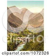 Photochrom Of A Covered Bridge Over A River In A Valley Switzerland Royalty Free Historical Stock Photography
