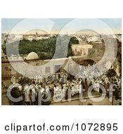 Photochrom Of A Crowd Watching A Snake Charmer In Tunis Tunisia Royalty Free Historical Stock Photography