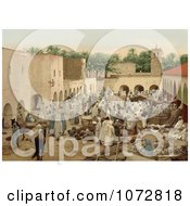 Photochrom Of A Crowded Market Biskra Algeria Royalty Free Historical Stock Photography