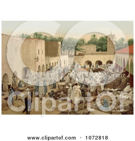 Photochrom of a Crowded Market, Biskra, Algeria - Royalty Free Historical Stock Photography by JVPD